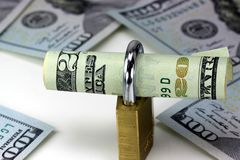 Security of Cash Twenty Dollar Bills with Lock Royalty Free Stock Photography