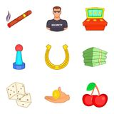 Security in the casino icons set, cartoon style Royalty Free Stock Photos