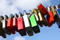 Fastener - castles. Security castles on one rope side by side close on line up Stock Photos