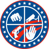 Security CCTV Camera Gun Fist Hand Circle Royalty Free Stock Photo