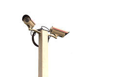 Security CCTV camera isolated on white background Stock Photos