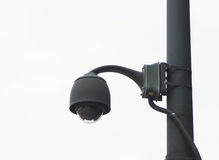 Security CCTV camera in office building on white isolate background with clipping Stock Photo