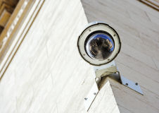 Security CCTV camera or surveillance system fixed on old constru Royalty Free Stock Photos