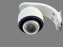 Security CCTV camera or surveillance system. On white Stock Image