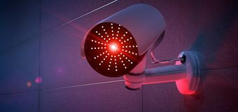 Security CCTV camera system - 3d rendering Royalty Free Stock Photo