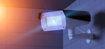 Security CCTV camera system - 3d rendering Royalty Free Stock Photography