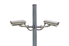 Security CCTV camera and urban video at public park Royalty Free Stock Images