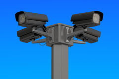 Security cctv cameras on blue sky, 3D rendering Royalty Free Stock Images
