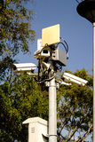 Security cctv cameras with outdoor Wifi Transmission. In a park Stock Photography