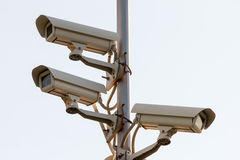 Security cctv cameras. On pilon Royalty Free Stock Photo