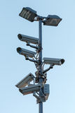 Security cctv cameras on pylon. Against sky Royalty Free Stock Image