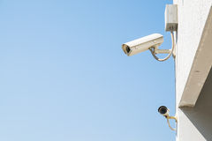 Security cctv cameras. With sky background Stock Photos