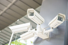 Security cctv cameras on the wall Stock Image