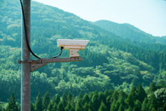 Security CCTV monitor inappropriate behavior. In public area with mountain background Royalty Free Stock Photography