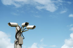 Security cctv surveillance camera. In front of blue sky with copy space Royalty Free Stock Image