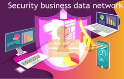 Security big data technology business information isometric design vector illustration