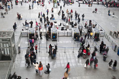 The security check in the railway station. The picture was taken Jan 13th,2012 at Hongqiao railway station, Shanghai, China. The spring festival was around the Stock Photography