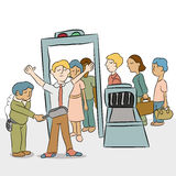 Security Checkpoint Line. An image of a line of people going through a security checkpoint vector illustration