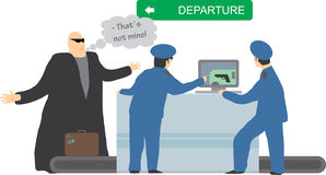 Security checkup. X-ray machine luggage checkup. Officers found a gun in the passenger's baggage.  Security control concept. Vector illustration Royalty Free Stock Photo