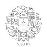 Security in circle - concept line illustration for cover, emblem, badge. Security thin line stroke icons set. Security in circle - concept line illustration for Royalty Free Stock Photo
