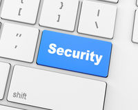 Security. Close up view on conceptual keyboard button - Help , 3d rendering Stock Photography
