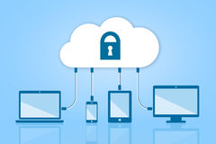 Security Cloud Computing Flat Vector Illustration on Blue  Stock Photography