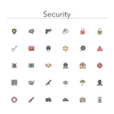 Security Colored Line Icons. Security and Safety colored line icons set. Vector illustration Royalty Free Stock Image