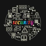 Security colorful gradient with line icons set Stock Photography