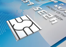 Security computer chip close up on a credit card Royalty Free Stock Photo