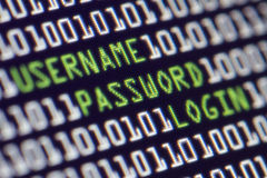Security Computer Password. A computer screen shows a user name password and login attempt Stock Image