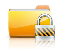 Security concept. Vector illustration of security concept with yellow folder and locked pad lock Stock Images
