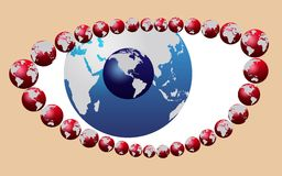 Security concept. Blue eye made of world map globe vector illustration