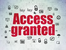 Security concept: Access Granted on Digital Data Paper background. Security concept: Painted red text Access Granted on Digital Data Paper background with  Hand Stock Photography