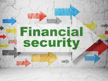Security concept: arrow with Financial Security on grunge wall background. Security concept:  arrow with Financial Security on grunge textured concrete wall Royalty Free Stock Photos