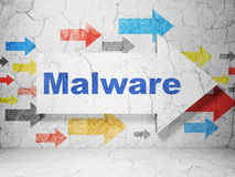 Security concept: arrow with Malware on grunge Stock Photo
