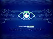 Security concept background. Cyber data security. Abstract high tech circuit board. Eye cyber security concept. Network data protection background. Search and Stock Photo