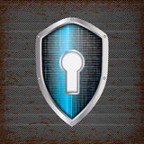 Security concept: blue shield Stock Photography