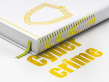 Security concept: book Contoured Shield, Cyber Crime on white background Royalty Free Stock Image