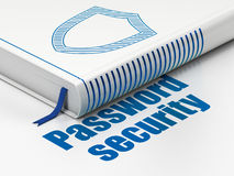 Security concept: book Contoured Shield, Password Security. Security concept: closed book with Blue Contoured Shield icon and text Password Security on floor Stock Photos