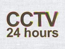 Security concept: CCTV 24 hours on fabric texture. Security concept: CMYK CCTV 24 hours on linen fabric texture background, 3d render Stock Image