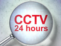 Security concept: CCTV 24 hours with optical glass Stock Photography
