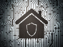 Security concept: circuit board with Home Stock Photo