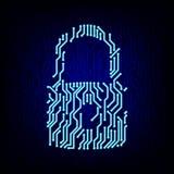 Security concept. Circuit board lock vector illustration. Royalty Free Stock Photos