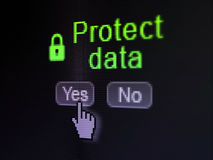 Security concept: Closed Padlock icon and Protect Data on digital computer screen. Security concept: buttons yes and no with pixelated Closed Padlock icon, word Stock Photo