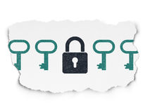 Security concept: closed padlock icon on Torn Royalty Free Stock Photography