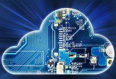 Security concept with cloud in electronic circuit Stock Image