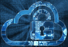 Security concept with cloud and lock in electronic circuit Stock Photography