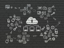 Security concept: Cloud Network on wall background Royalty Free Stock Images