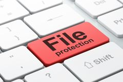 Security concept: File Protection on computer keyboard background. Security concept: computer keyboard with word File Protection, selected focus on enter button Royalty Free Stock Images