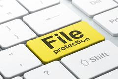 Security concept: File Protection on computer keyboard background. Security concept: computer keyboard with word File Protection, selected focus on enter button Royalty Free Stock Photography